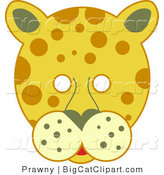 Big Cat Vector Clipart of a Spotted Leopard Face with White Eyes by Prawny
