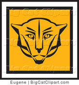 Big Cat Vector Clipart of a Square Cougar Face Design by Eugene