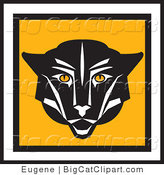 Big Cat Vector Clipart of a Square Cougar Face Icon by Eugene
