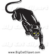 Big Cat Vector Clipart of a Stalking Black Jaguar by Patrimonio