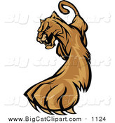 Big Cat Vector Clipart of a Stalking Cougar Mascot by Chromaco