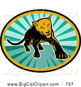 Big Cat Vector Clipart of a Stalking Lioness by Patrimonio