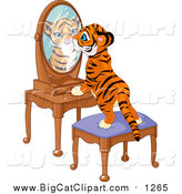 Big Cat Vector Clipart of a Tiger Cub Standing on a Stool and Looking Curiously in His Reflectin in a Mirror by Pushkin