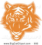 Big Cat Vector Clipart of a Tiger Head in Orange and White by Patrimonio