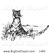 Big Cat Vector Clipart of a Tiger Looking Around - Retro Black Style by Prawny Vintage