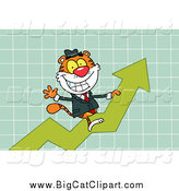Big Cat Vector Clipart of a Tiger Riding up on a Statistics Arrow by Hit Toon