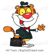 Big Cat Vector Clipart of a Tiger Salesman Waving by Hit Toon