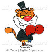 Big Cat Vector Clipart of a Tiger Wearing Boxing Gloves by Hit Toon