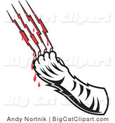 Big Cat Vector Clipart of a Tigers Claw Drawing Blood from Scratches by Andy Nortnik