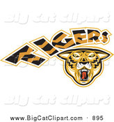 Big Cat Vector Clipart of a Tigers Logo by Patrimonio