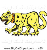 Big Cat Vector Clipart of a Tribal Designed Jaguar Cat in Profile on White by Xunantunich
