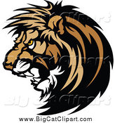 Big Cat Vector Clipart of a Vicious Male Lion Head Roaring by Chromaco
