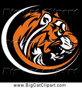Big Cat Vector Clipart of a Vicious Tiger Head Profile Mascot on Black by Chromaco