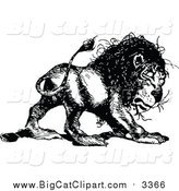 Big Cat Vector Clipart of a Vintage Black and White Lion by Prawny Vintage