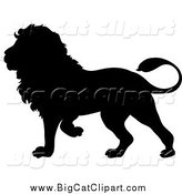 Big Cat Vector Clipart of a Walking Black Lion Silhouette by Pams Clipart