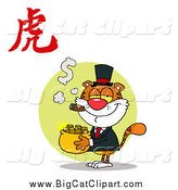 Big Cat Vector Clipart of a Year of the Tiger Chinese Symbol and Rich Cat by Hit Toon