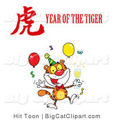 Big Cat Vector Clipart of a Year of the Tiger Party by Hit Toon