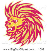Big Cat Vector Clipart of a Yellow and Red Angry Lion Head by Patrimonio