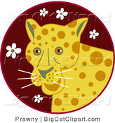 Big Cat Vector Clipart of a Yellow Happy Leopard over a Maroon Circle with White Flowers by Prawny