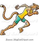Big Cat Vector Clipart of an Athletic Track and Field Cheetah Running by Zooco