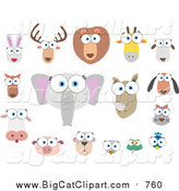 Big Cat Vector Clipart of Big Eyed Animal Faces by Qiun