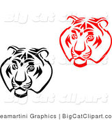 Big Cat Vector Clipart of Black and White and Red Tiger Faces by Vector Tradition SM