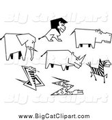 Big Cat Vector Clipart of Black and White Drawn African Animals by Vector Tradition SM