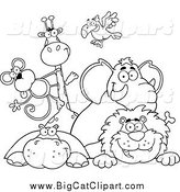 Big Cat Vector Clipart of Black and White Happy Zoo Animals over a Sign by Hit Toon