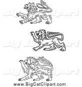Big Cat Vector Clipart of Black and White Heraldic Lions by Vector Tradition SM