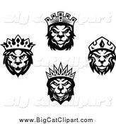 Big Cat Vector Clipart of Black and White Heraldic Lions Wearing Crowns by Vector Tradition SM