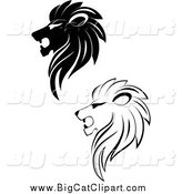 Big Cat Vector Clipart of Black and White Lion Heads by Vector Tradition SM