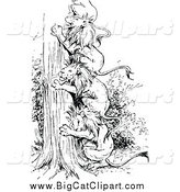 Big Cat Vector Clipart of Black and White Lions Forming a Ladder up a Tree by Prawny Vintage