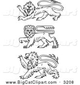 Big Cat Vector Clipart of Black Heraldic Lions by Vector Tradition SM