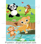 Big Cat Vector Clipart of Cute Animals Saving a Monkey at a Pond by Pushkin