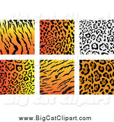 Big Cat Vector Clipart of Jungle Animal Print Backgrounds by Vector Tradition SM
