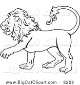 Big Cat Vector Clipart of Lineart of the Leo Lion Zodiac Astrology Sign by AtStockIllustration