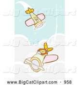 Big Cat Vector Clipart of Lions Flying Biplanes Above Clouds by Xunantunich