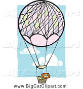 Big Cat Vector Clipart of Lions in a Hot Air Balloon by Xunantunich