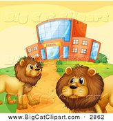 Big Cat Vector Clipart of Male Lions by a School Building by Graphics RF
