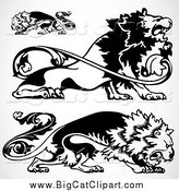 Big Cat Vector Clipart of Ornamental Black and White Lions by BestVector