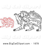 Big Cat Vector Clipart of Red and Black Curly Haired Heraldic Lions by Vector Tradition SM