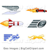 Big Cat Vector Clipart of Running Cheetah and Speed Icons by AtStockIllustration