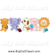 Big Cat Vector Clipart of School Animals Walking in Line; Cat, Elephant, Puppy, Piglet and Lion by BNP Design Studio