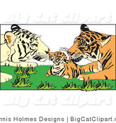 Big Cat Vector Clipart of Tiger Parents and Cub by Dennis Holmes Designs