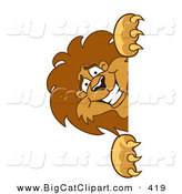 Big Smiling Cat Cartoon Vector Clipart of a Lion Character Mascot Peeking by Toons4Biz