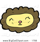 Cartoon Vector Clipart of a Happy Lion Face by Lineartestpilot