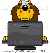 Cartoon Vector Clipart of a Happy Male Lion Using a Desktop Computer by Cory Thoman