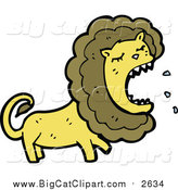Cartoon Vector Clipart of a Lion Roaring by Lineartestpilot