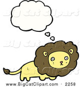Cartoon Vector Clipart of a Lion with a Thought Bubble by Lineartestpilot