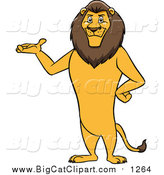 Cartoon Vector Clipart of a Male Lion Presenting and Standing Upright by Cartoon Solutions